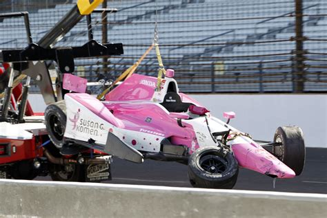 indy car crash indycar s pippa mann crashes in indy 500 practice usa today sports