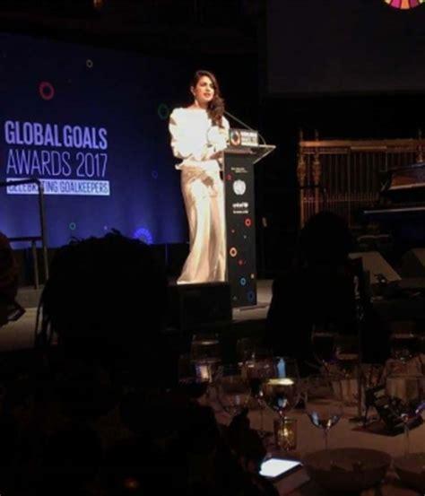 priyanka chopra charity work priyanka chopra addressing the audience at un charity gala