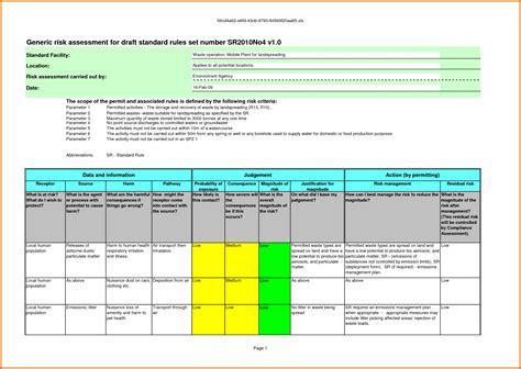 risk assessment tool template 8 risk assessment template excel itinerary template sle