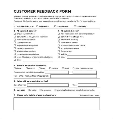 Sle Customer Feedback Form 22 Free Documents In Pdf Customer Feedback Form Template Word