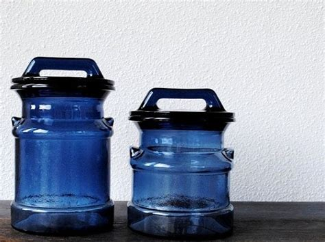blue kitchen canister sets decorating clear vintage glass milk can canister set blue kitchen