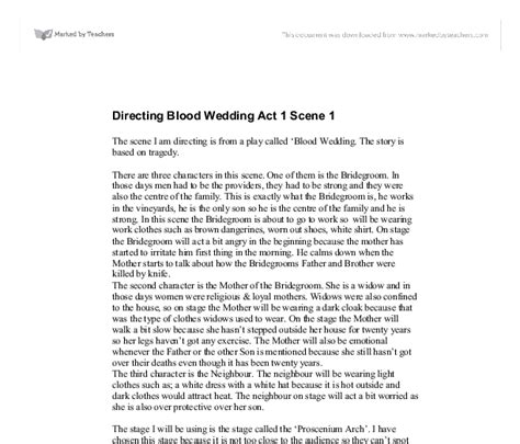 blood wedding full text b00xtazhns directing blood wedding act 1 scene 1 a level drama marked by teachers com