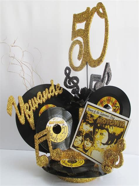 musical themed decorations centerpieces using record albums black and gold motown