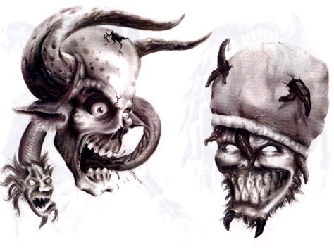 evil skull tattoo designs evil tattoos