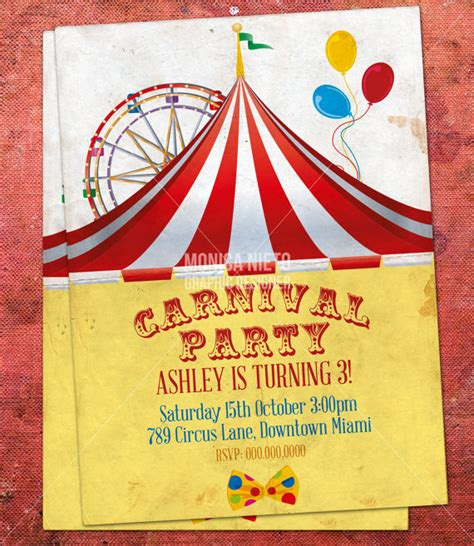 Custom Printable Carnival Circus Birthday Invitation Retro Circus Invitation Template Free