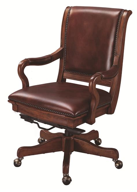 aspenhome richmond leather upholstered caster office chair