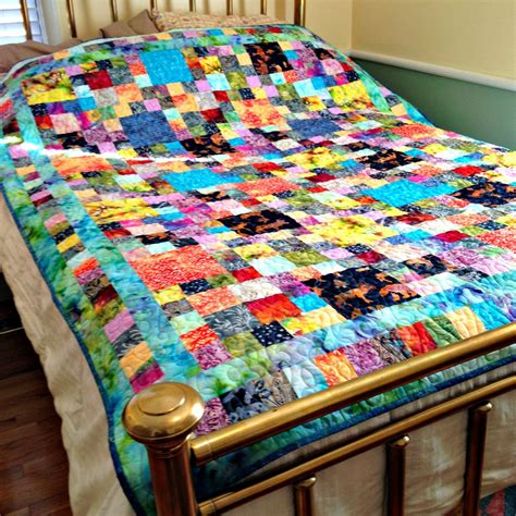 futon quilt bed quilt batik fabric quilt colorful bedding bright