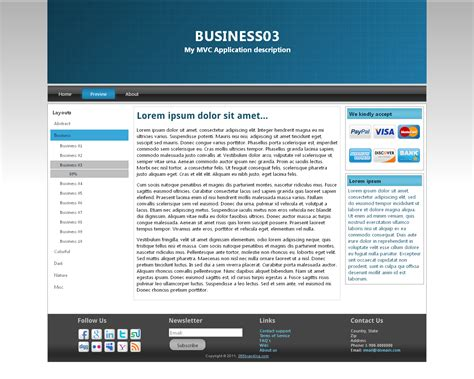 asp net menu templates asp net mvc 3 app template with branding features by