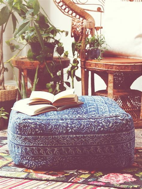 Bohemian Floor Cushions by Modelli Creations Indigo Pouf At Free Clothing