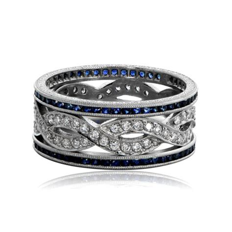 Wedding Bands With Sapphires And Diamonds by Sapphire And Infinity Wedding Band Estate