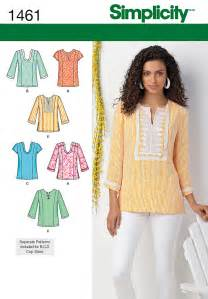 simplicity 1461 womens pullover tunic blouse top tops plus