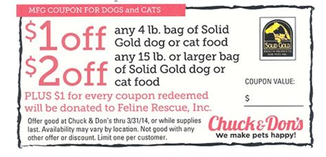 printable solid gold dog food coupons coupon for solid gold cat or dog food feline rescue inc