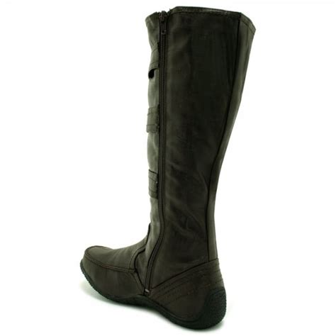 womens brown wide calf toggle knee high flat boots