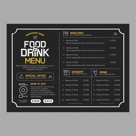 free restaurant menu templates download