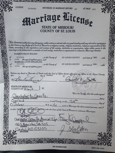 Marriage License Records Missouri Officer Darren Wilson Marries Fellow Officer Barbara Spradling