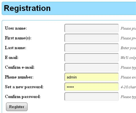 html tutorial registration form html how can i avoid browser prepopulating fields in my