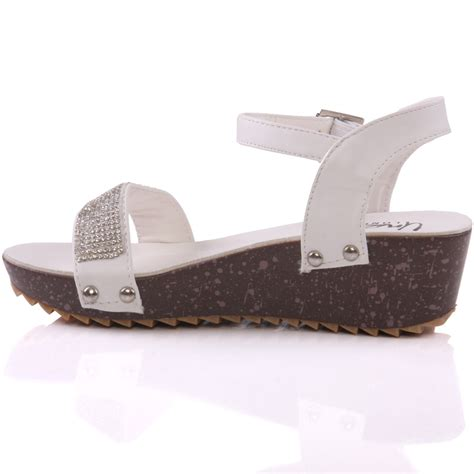 Sendal Wedges 13 Unze Laxi Wedge Formal Sandals Uk Size 1 13 White Ebay