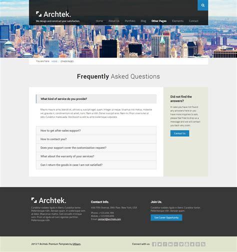 themeforest faq archtek responsive modern html template by uxbarn