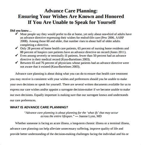 advance care plan template 12 care plan templates sle templates