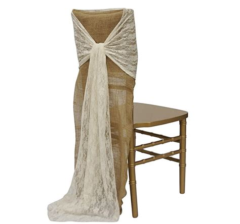 Lace Chair Sashes by Burlap Ivory Classic Lace Chair Sash Urquid Linen