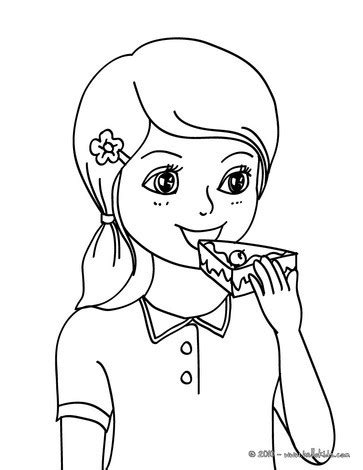 girl eating a birthday cake coloring pages hellokids com