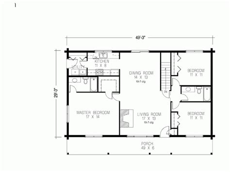30x50 House Floor Plans Eplans Log Houses House Plan Three Bedroom Log Houses