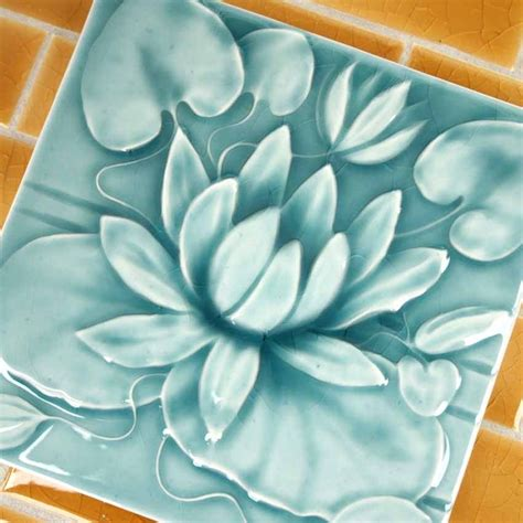 Handmade Clay Tiles - waterlily handmade ceramic tile style