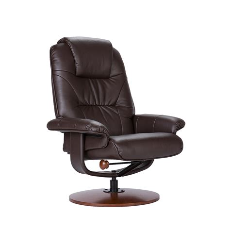 reclining leather chair ottoman com bonded leather recliner and ottoman brown