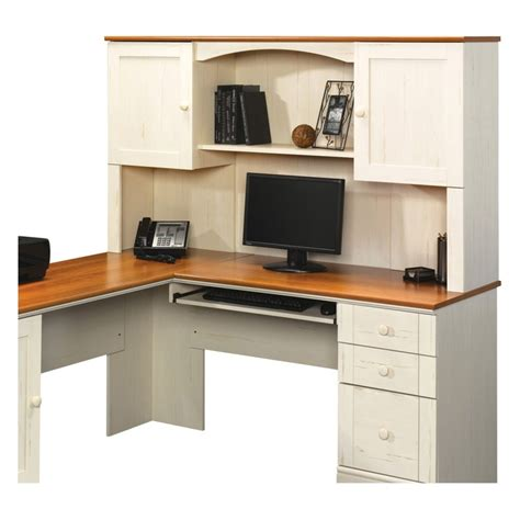 Sauder Corner Computer Desk With Hutch Sauder Harbor View Corner Computer Desk With Hutch Antiqued White Computer Desks Corner