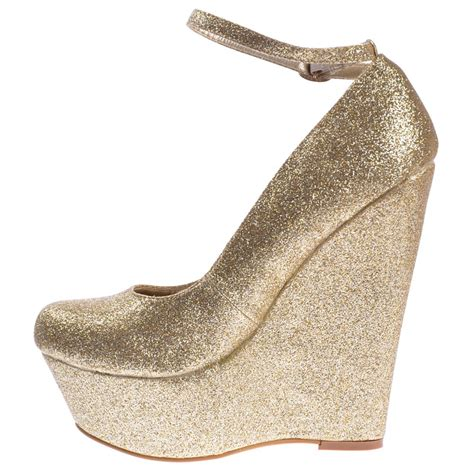 onlineshoe gold glitter wedge platform shoes ankle
