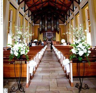 Wedding Aisle Organ by Beautiful Flower Stands And Church On