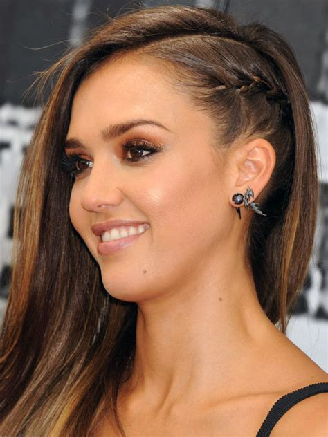 hairstyles braided on one side love side swept hair try a punky braid like jessica alba