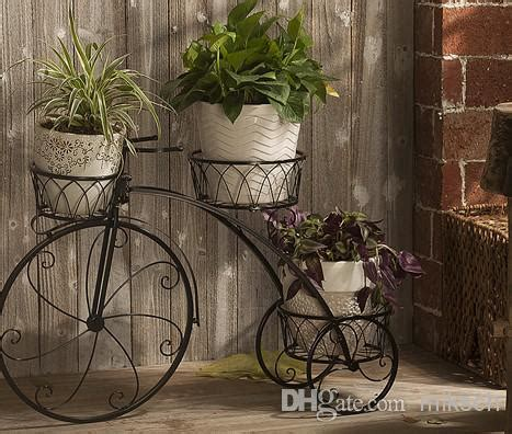 Iron Garden Decor Freeshippinghome Garden Decor Wrought Iron Plant Stand Flowers Pot Bike Outdoorbicycle Home