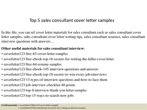 top 5 sales consultant cover letter sles
