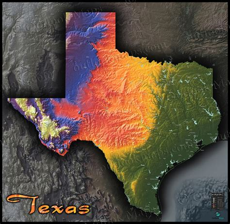 elevation map texas physical texas map state topography in colorful 3d style