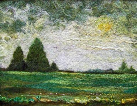 green field needle felting felt art felt embroidery