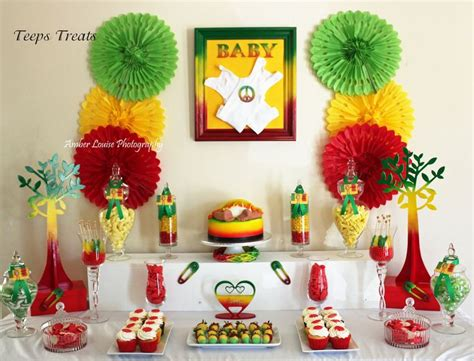 Jamaican Decorations by Rasta Themed Baby Shower Buffet Buffets By
