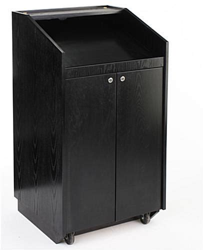 Black Presentation Podium with Wheels & Locking Doors