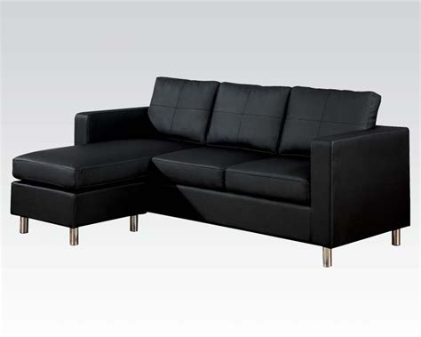 reversible chaise sectional sofa kemen black by acme