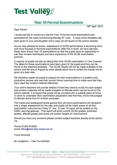 Parent Letter Before Testing Test Valley School Year 10 Formal Examinations