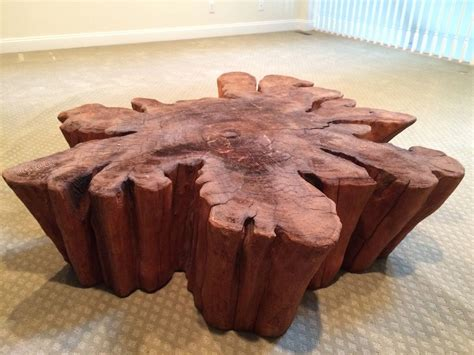 redwood live edge slab coffee table at 1stdibs