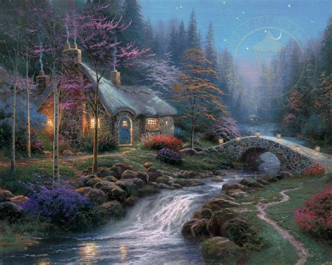 cottage paintings by kinkade twilight cottage the kinkade company