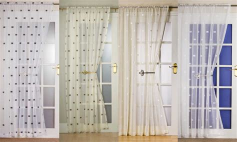 Door Window Panel Curtains Milan Slot Top Modern Square Pattern Voile Panel Decorative Door Window Curtain