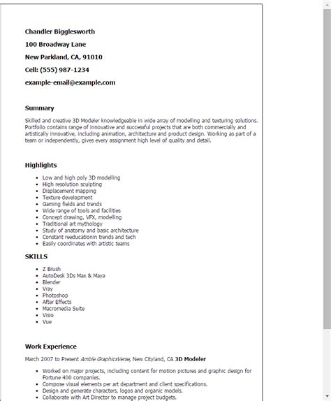 resume exle for a 3 d modeler animator professional 3d modeler templates to showcase your talent
