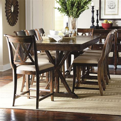 legacy classic dining room set 9 piece pub dining set with x shaped details