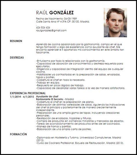 modelo curriculum vitae ayudante junior de chef livecareer