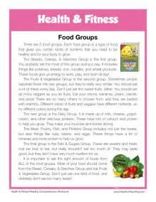 reading comprehension worksheet food groups