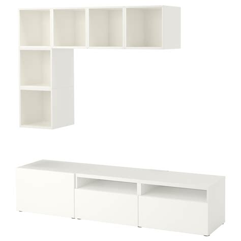 besta eket eket best 197 combinaison rangement tv blanc 180x40x170 cm ikea