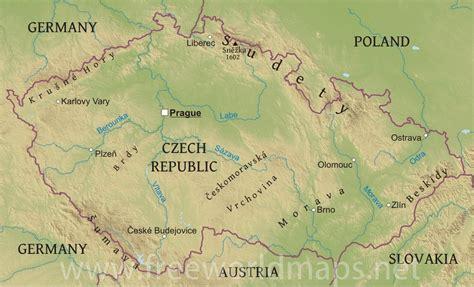 physical map of republic tschechien gew 228 sserkarte