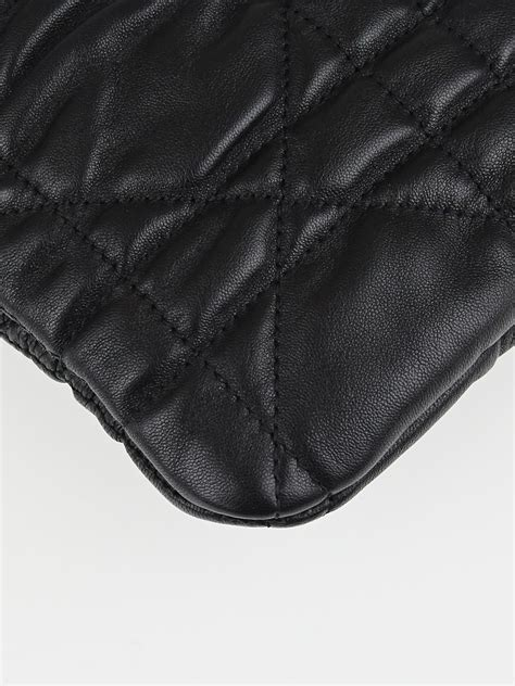 Vinyl Cannage D Clutch by Christian Black Cannage Quilted Lambskin Leather